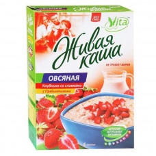 "Живая каша ""Vita"" Овсяная клубника со сливками с витаминами 240гр"