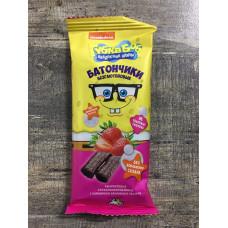 """Батончики амарантовые """"Губка Боб"""" с клубничной начинкой в глазури, витаминизированные"""