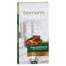 Шоколад Biomania молочный с начинкой из пасты фисташки 100г