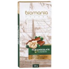 Шоколад Biomania молочный с начинкой из пасты кешью 100г